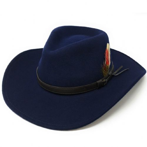 Fedora Cowboy Hat Crushable Safari with Removable Feather - Navy 5f3e60fc85d